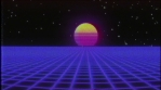 Retro text with retrofuturistic synthwave background. Grid landscape and sun. VHS damage tape style.