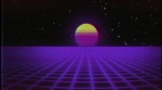 Future text with retrofuturistic synthwave background. Grid landscape and sun. VHS damage tape style.