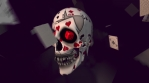Skull among poker cards. Seamless animation background.