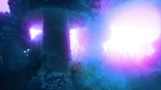 Huge towering amanita muscaria mushrooms psychedelic abstract purple blue lights and swirling fog