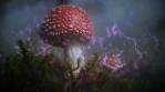 Magic mushroom sparkling spore cloud, Amanita Muscaria abstract