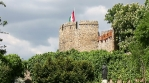 fort tower with Hungarian flag Pecs