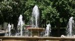 fountain in park Pecs Hungary spring season