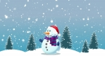 Snowman and Winter Background