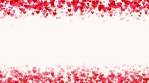 Hearts fall from top and to bottom. Red pink hearts love animation. empty space in middle. Concept template for greeting with Valentines Day or Mothers Day. Abstract background. Seamless loop.