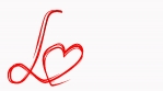 Hand draw love word paint brush animation. Red color heart at white background. Concept for Valentines Day wedding celebration greeting. Loopable.