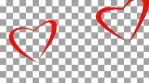 Couple shape of loving hearts fly together. Love concept. Red hearts flying like butterfly. Alpha channel transparent background.