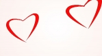 Couple shape of loving hearts fly together. Love concept. Red hearts flying like butterfly. White background.