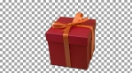Red gift box with yellow gold ribbon bow track to right at transparent background. Alpha channel chroma key transparent background. Have empty space for text. Pan.