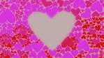 Red and lilac hearts change their color chaotically waves. Motion greeting card Love Valentines Day.