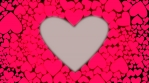 Red pink heart shape. Heartbeat like drums motion. Animation of hearts bounce on the beat. Seamless loop. Valentine.