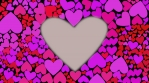 Red and lilac hearts change their color chaotically waves