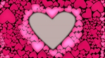 Red heart glow with waves from cnter to outer. Heart shape animation. Pink color heart light waves.