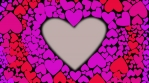 Red heart glow and change color from pink red to lilac with waves from cnter to outer. Heart shape animation. Pink color heart light waves.