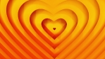 Golden orange hearts shape grows. Seamless loop animation. Valentines Day Love and wedding concept.