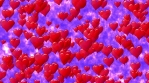 Red hearts like balloon rise up to blue sky with clouds. Fly of hearts. Seamless loop.