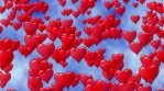 Red hearts like balloon rise up to blue sky with clouds. Flying hearts Valentines Day. Seamless loop.