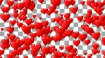 Red hearts like balloon rise up to blue sky with clouds. Fly of hearts. Seamless loop. Alpha channel transparent background.