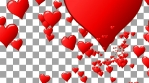 Seamless flow of red hearts. Animation of flight hearts at purple background. Seamless loop. Alpha channel transparent background.