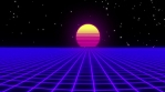 Retrofuturistic synthwave background. Grid landscape and sun.