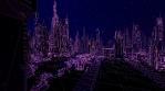 Retro Futuristic cityscape seamless background.