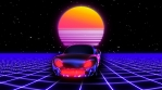 Retro futuristic seamless animation of a car with a sun in the background.