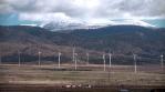 Wind turbines spinning near the Sierra Nevada mountains, Granada Spain