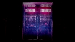 Morphing graffiti doors abstract animated background, dark city streets, glowing lights