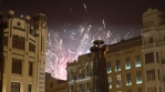 VALENCIA, SPAIN - MARCH 2018 - Fireworks erupt over a downtown neighborhood during the annual Fallas
