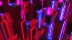 Neon low poly citiscape animation. Seamless retro futuristic background.
