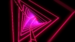 Neon low poly grid triangle tunnel animation. Seamless retro futuristic background.