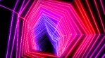 Neon low poly grid tunnel animation. Seamless retro futuristic background.