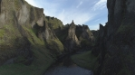 Fjadragljufur river canyon, steep rock walls revealing aerial shot, Iceland