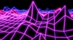 Neon low poly grid landscape animation. Seamless retro futuristic background.
