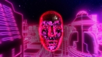Neon low poly cityscape animation with faceted head. Seamless retro futuristic background.