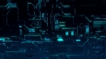 Cyber Tech Digital Background - Front View zoom out - BlueGreen