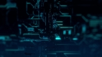Cyber Tech Digital Background - Front View zoom out - DOF - BlueGreen