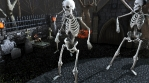 Seamless animation of skeletons dancing samba in a cemetery at night. Funny halloween background.