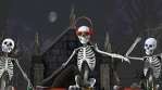 Seamless animation of a DJ skeleton and skeletons dancers in a cemetery at night. Funny halloween ba