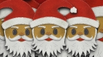 Santa head figure isolated with alpha. Funny Christmas transition
