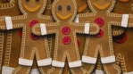 Gingerbread man figure isolated with alpha. Funny Christmas transition