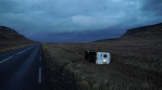 A vehicle blown off the road after a powerful wind storm, Iceland