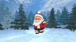 Cute Santa dancing salsa in a winter forest. Seamless funny Christmas animation.