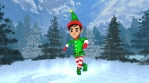 Cute elf dancing salsa in a winter forest. Seamless funny Christmas animation.