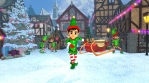 Cute elf dancing salsa in a Christmas village. Seamless funny Christmas animation.
