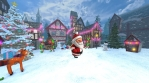 Cute Santa dancing salsa in a Christmas village with elfs and a carrousel. Seamless funny Christmas