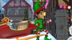 Cute elf dancing next to Santa´sleight in a Christmas village. Seamless funny Christmas animation.