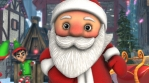 Close up of a cute Santa dancing salsa in a Christmas village. Seamless funny Christmas animation.