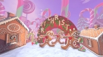 Cute Gingerbread man dancing salsa in a candy village. Seamless funny Christmas animation with ginge