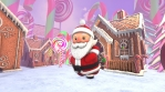 Cute Santa dancing salsa in a candy village. Seamless funny Christmas animation with gingerbread hou